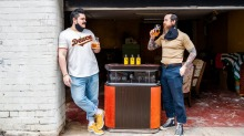 """Double Deuce Lounge owners Sebastian """"Cosmo"""" Soto (left) and Charlie Lehmann are providing cocktails for pick-up from ..."""