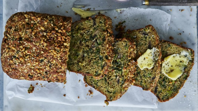 Helen Goh 's spring vegetable loaf with parmesan and zaatar.