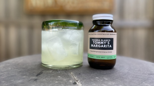 A bottled Tommy's Margarita from Bar None in Camberwell. The pill bottle design is inspired by the history of cocktails, ...