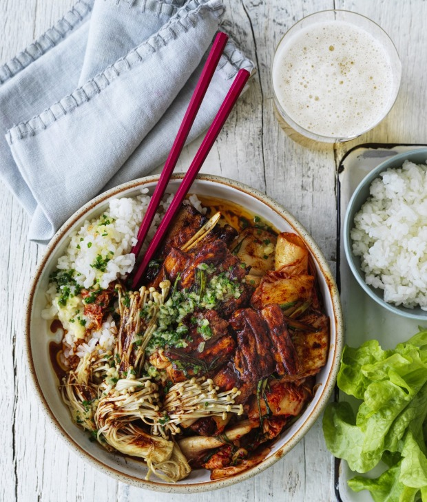 A few of Adam Liaw's favourite things: pork belly, kimchi and garlic butter.