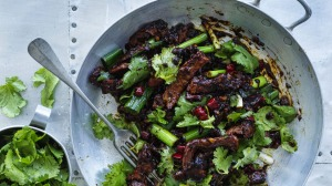 Stir-fried lamb with coriander and Sichuan pepper.