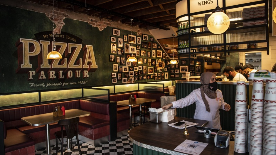 New York-style pizza and wings often sell out before noon at this Bexley North venue.