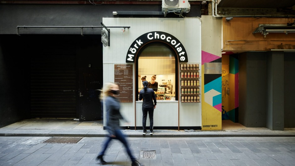 Mork Chocolate has opened a tiny takeaway store in the CBD, converting a disused lift shaft into a space to sell hot ...