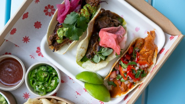 Lamb, beef brisket and chicken tacos from Tequila Daisy.
