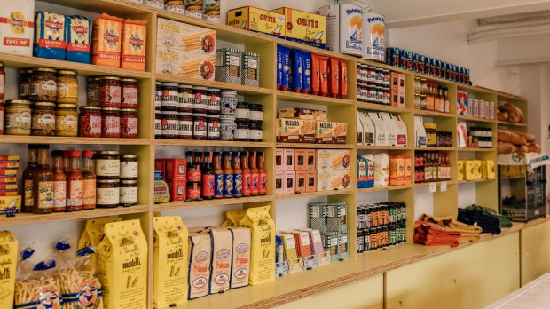Mortadeli's shelves are stocked with local products and European imports.