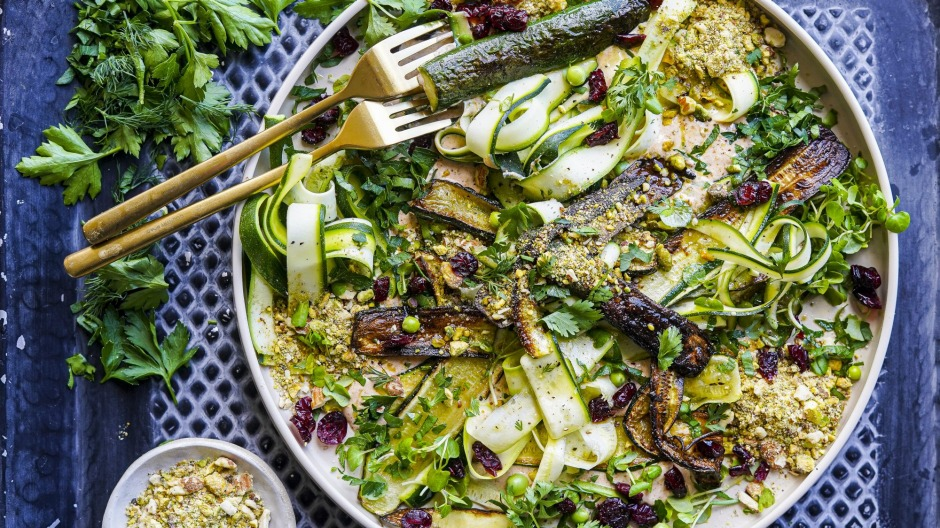 Raw and charred zucchini star in this textual salad.