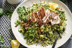 Spring on a plate: Grilled chicken with spring greentabbouleh.