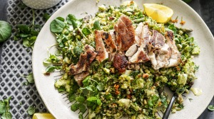 Grilled chicken with buckwheat tabbouleh.