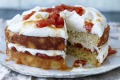 Coconut sponge sandwiched with papaya compote and coconut cream.