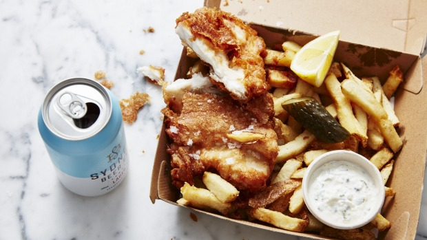 Battered Murray cod and chips from Charcoal Fish.