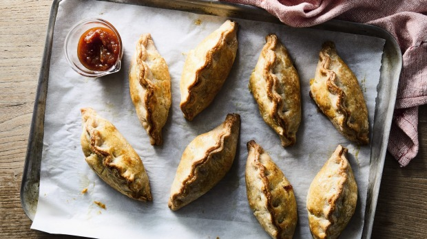 Cheese and vegetable pastiesfrom Home by Stephanie Alexander. Published by Macmillan Australia, RRP $59.99, photography by Armelle Habib. [Image rotated to make horizontal] For Good Food story, Sep 21, 2021.Single print and online use