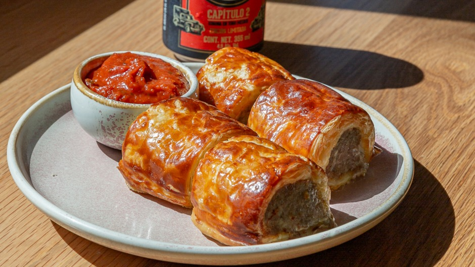 The Prince Hotel's sausage rolls with homemade tomato sauce.