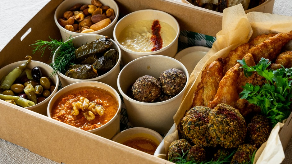 Free to Feed's mezze boxes are largely vegan-friendly.