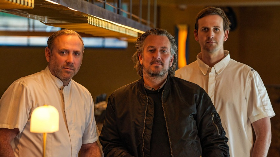 The Point Group's executive chef Joel Bickford (left) and director Brett Robinson (centre) and Dining Room head chef ...