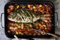 Puttanesca baked fish with salsa verde.