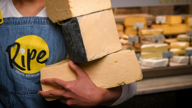 Hakim Halim with a selection of cheeses from his fully Australian cheese factory.