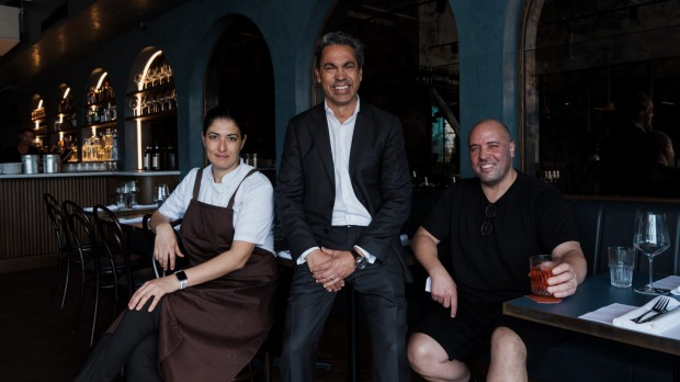 Chef Paola Pantano with Lola's owners Manny Spinola and Marco Ambrosino.