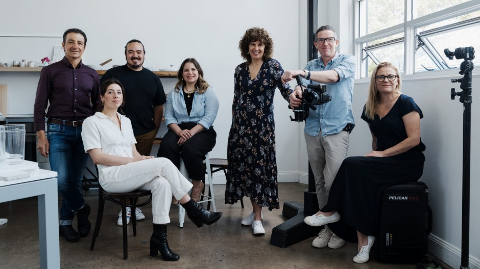 Inside the Good Food Kitchen studio: (from left) guest chefs Giovanni Pilu and Anna Ugarte-Carral, hosts Adam Liaw and ...