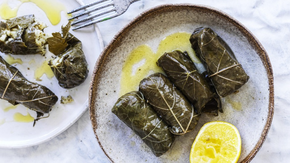 Vine leaves stuffed with spiced rice.