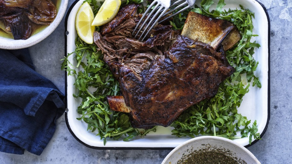 Serve the lamb with its slow-cooked onions (top left) and rosemary vinaigrette (bottom right).