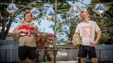 Josh Hardy (left) and Eamon Sandwith from The Chats have collaborated with Adelaide-based Delinquente wines on special ...