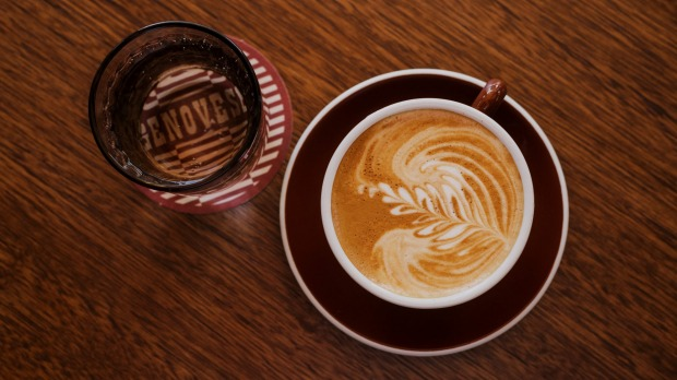 A flat white from Genovese Coffee.