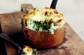 Rustic charm: Cheddar and spinach souffles.