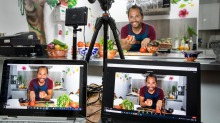 Gerardo Lopez is a vibrant Zoom host on a two-camera set-up at Casa Iberica Deli in Alphington.