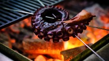 At Yakimono, everything is cooked over fire, from octopus skewers to whole chickens.