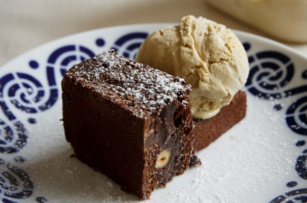 Frank Camorra's jaffa brownie with optional carajillo (coffee and brandy) ice-cream <a ...